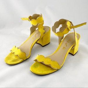 • Unisa Eadlyn Yellow Block Heel Shoes Sandals •